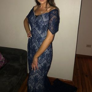 Blue lace formal dress